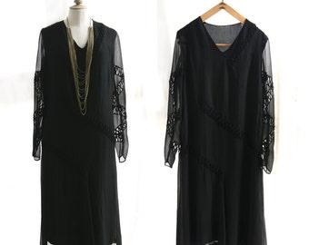Vintage 1930's Black dress long sleeves, chiffon silk.