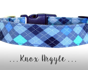Blue Argyle Dog Collar; Plaid Dog Collar: Knox Argyle