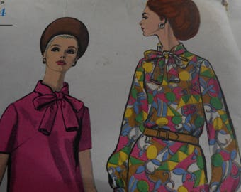 Vintage 1960's Vogue 6980 Mod Dress Sewing Pattern Size 12 Bust 32