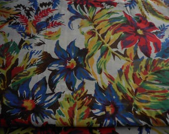 Vintage 1940's, 50's Bright Yellow, Green, Blue, Red Splashy Floral Print Cotton Fabric, 4 yards
