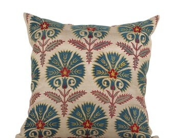 24 x 24 Pillow Cover Suzani Pillow Suzani Pillow Hand Embroidered Pillow Uzbek Suzani Pillow FAST SHIPMENT with ups or fedex - 09555