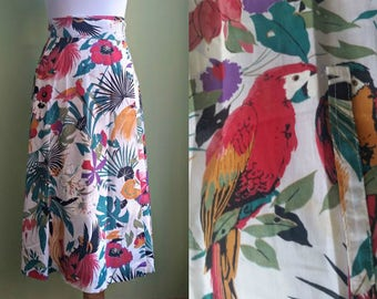 1980s Tropical Bird Print Wrap Skirt - Midi Length Cotton Skirt - Small/Medium