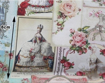 Vintage Versailles Cotton Fabric, Digital Printing - Fabric By the Yard 96221
