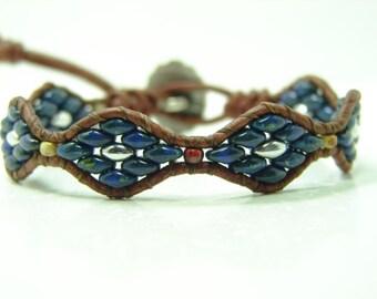 Dark Blue Beaded Leather Wrap Bracelet, Dark Blue Beaded Wrap Bracelet, Tribal Super Duo Wrap Bracelet, Southwest Superduo Beaded Bracelet