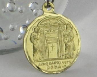 Rare Golden Pope Necklace - Anno Santo 1975 Paulus VI Pont. Maximus Roma Italy
