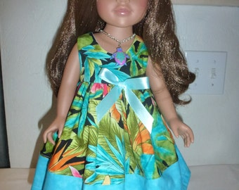 """18"""" Hawaaian Doll Dress Fits American Girl, Madame Alexander, Gotz, My Twin and Other 18""""  Dolls"""