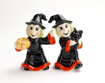 Vintage Halloween Witch Figurines, Mid Century Halloween, Kitsch Halloween Witch Black Cat Ceramic Epsteam