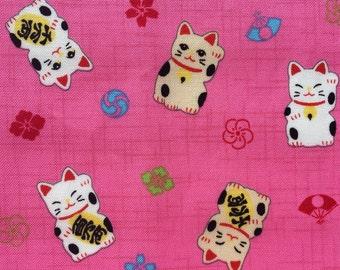 Maneki Neko Cotton Fabric - Pink