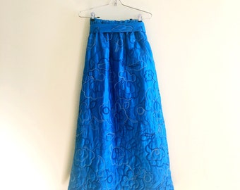 Vintage Quilted Floral Embroidered Maxi Skirt / Blue Maxi Skirt / Hippie / 1970s
