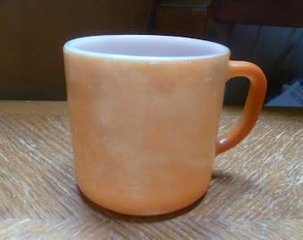 Orange milk glass mug by Federal Glass