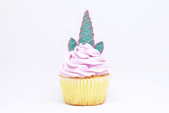 Unicorn Horn + Ears Cupcake Toppers - Aqua + Lavender Glitter - First Birthday Decor. Unicorn Party Decor. Birthday. Birthday Party Decor.