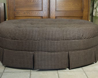 HUGE Tan and Mocha Ottoman | Houndstooth Pattern