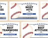 Editable Baseball Award Certificates - INSTANT DOWNLOAD PRINTABLE - Blue and Grey Gray Silver