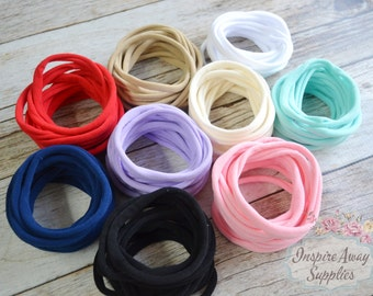 Thin nylon headbands, PICK ANY COLOR soft stretchy one size fits all headband, wholesale nylon headbands, diy headband, headband supplies,