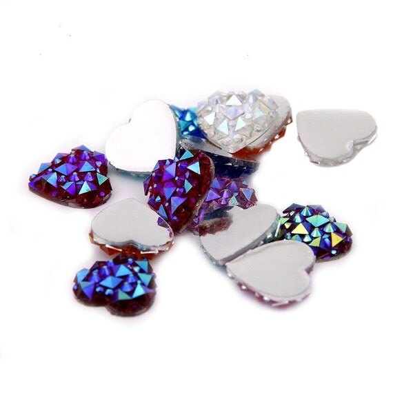 Mixed AB Flat Back Heart Resin Rhinestones Embellishment Gems
