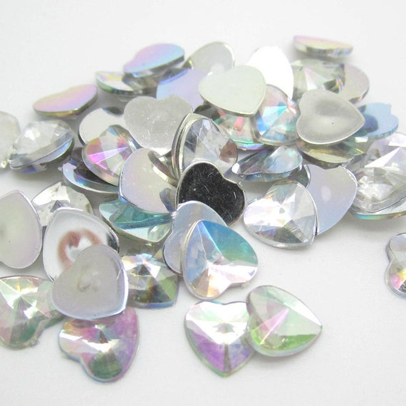 Crystal AB Heart Flat Back Pointed Rivoli Resin Rhinestones Embellishment Gems C14