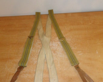 Men's Vintage POLICE BRACE Suspenders With Striped Green Elastic & Leather Fittings