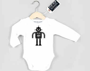 Robot baby grow (blue or black print)