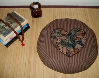 """Meditation Cushion. Floor Pillow. Zafu. Rustic Pillow Ticking w. applique Heart. Buckwheat Hull filled. 15""""x5"""". 5""""L. Zipper. Handmade, USA."""