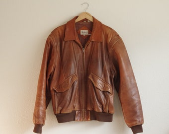 Adam Spencer Brown Leather Bomber Style Jacket Size 44T | Well Worn