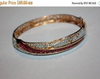 Christmas Sale Vintage Sterling Silver Bangle Bracelet, Sterling Ruby Bracelet,  Vintage 1980s Jewelry