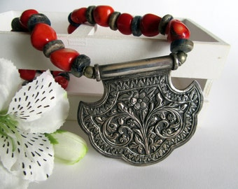 India red Coral and Silver Necklace.