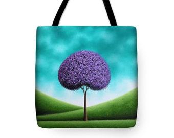 Lavender Tree Tote Bag, Whimsical Tree Art Handbag, Art Purse, Yoga Bag, School Bag, Large Canvas Tote, Library Bookbag, Reusable Bag