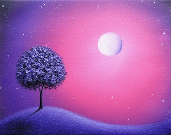 ORIGINAL Purple Tree Painting, Purple Oil Painting, Abstract Art on Canvas, Pink Starry Night Sky, Moon Dreamscape, Impasto Landscape, 8x10