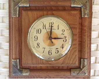 Working Vintage Wooden Wall Clock - Quartz Made in the USA - Square Wall Hanging
