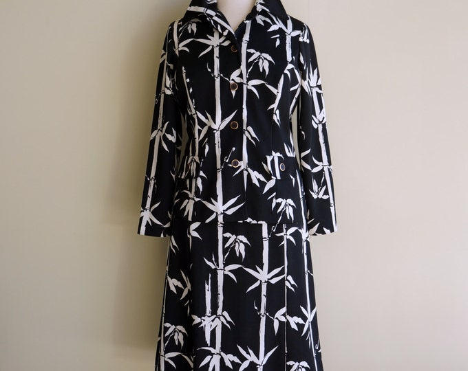 Bamboo Print 1970s Dress & Jacket Set LARGE Black White Vintage Suit Sleeveless 70s Sheath Dress Long Sleeve Shirt Bamboo Belt It's A Lehigh