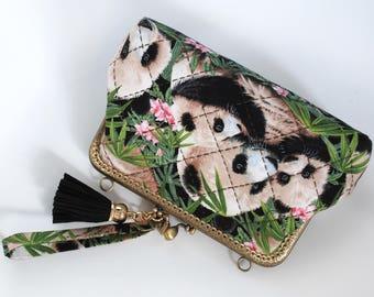 """7"""" Clutch Bag – Panda Bears Black"""