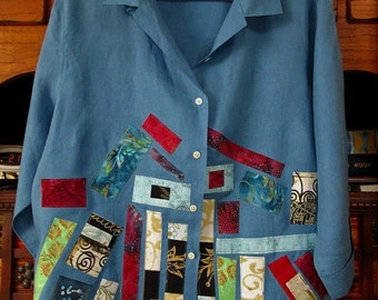 Upcycled Artsy Linen Shirt Jacket  2X