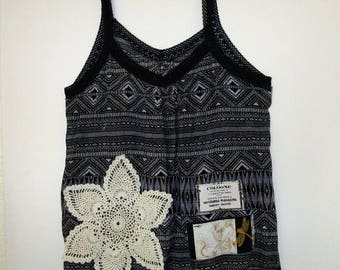 Country Cool Doily Top Upcycled Summer Tank Shirt  Plus SZ 1X 2X