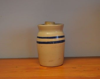 Vintage butter churn crock small with blue stripes stoneware yelloware