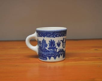 Vintage Flow Blue Transferware china mug Japan