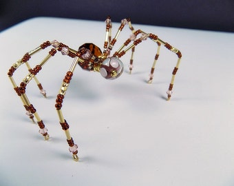 Brown & Gold Beaded Spider, Christmas spider, Beaded Ornaments, Ornaments, Window Decor, Gifts for Her, beaded spider,