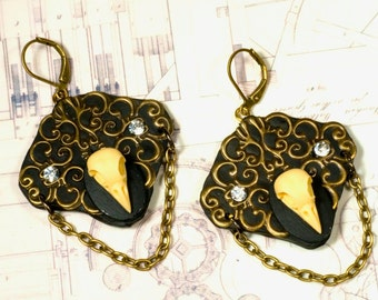Earrings, bird skulls, Gothic, steampunk, Baroque