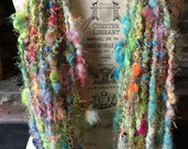 Handspun Art Yarn, Coily Ply, Spiral Ply, Wool, Teeswater, Mohair, Locks, Tropical Punch