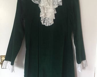 Velvet Cave 60's Victorian Gothic Style Vampire Duffy Dark Green Dress wirh Lace Ruffles