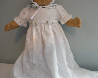 15 or 16 inch doll such as  Bitty Baby Baptism Christening dress by Project Funway on Etsy
