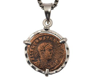 Roman coin necklace, coin statement necklace, silver coin necklace, coin pendant necklace, antique coin necklace, floating necklace