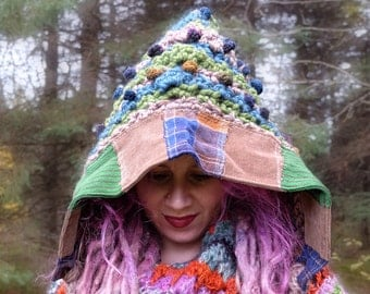 Knitted hat women Crochet hood Unisex knit hat Winter hat with recycled sweaters Chunky knit hat in green Elf and gnomes Crocheted hat