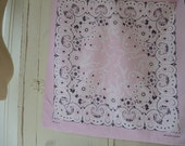Vintage bandana all cotton light pink made in the USA RN 16429 20 x 21.5 inches