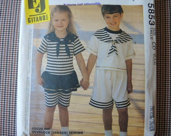 vintage 1990s sewing pattern McCalls toddler top or shorts for knits only size 2-3-4