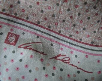 Vintage silk scarf Anne Klein  10 x 58 inches