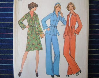 vintage 1970s simplicity sewing pattern 7094 misses unlined jacket with or without hood skirt and pants size 10