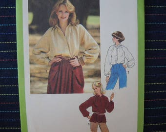 Vintage 1970s Simplicity sewing pattern 8704 misses button front shirt size 6-8