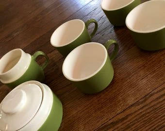 Set of Vintage Mid Century Coffee Cups, Creamer and Sugar Bowl, Olive Green and White