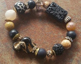 sale on My Lucky Elephant / Lucky/ Stretch Bracelet / Elephant Jewelry/ Good Luck Charm/ Bohemian Jewelry