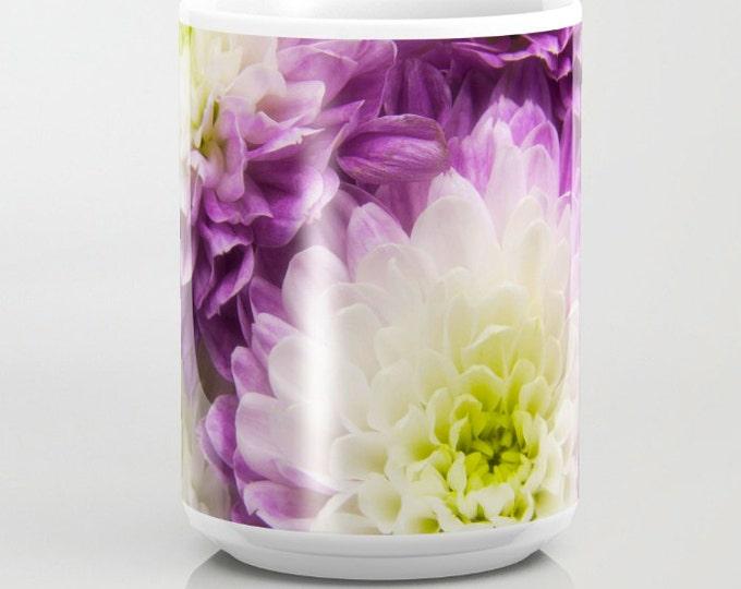 Purple & White Mums, coffee mug, Photography, Photo Mug, Coffee Mug, Unique Mug, Flower Mug, Beverage, Flower Photography